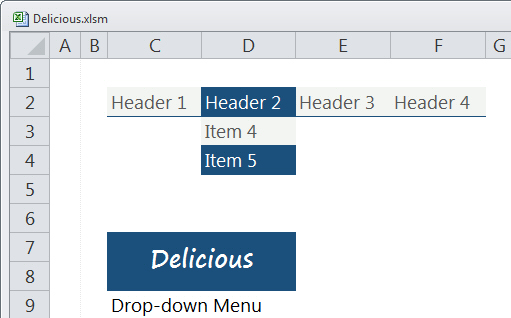 Delicious, a very Delicious Drop-down Menu with Theme Changer for Excel 2010 by Mark Kubiszyn