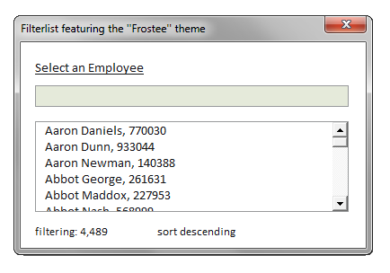 Frostee Theme for Filterlist