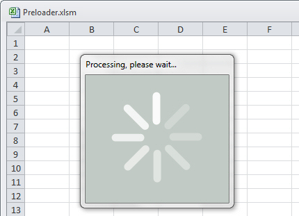 Preloader Transition in VBA for Excel by Mark Kubiszyn using spin.js library by Felix Gnass
